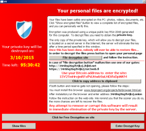 Ransomware Image - source: http://arstechnica.com/security/2016/03/big-name-sites-hit-by-rash-of-malicious-ads-spreading-crypto-ransomware/