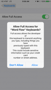 Word Flow Full Access Disclosure