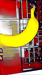 Banana on Keyboard (Photo editing using Prisma Mondrian Filter)