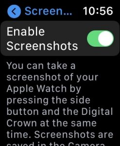 New Apple Watch 6 - enable screenshots