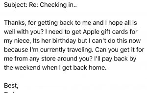 email hacking example - Apple card for neice