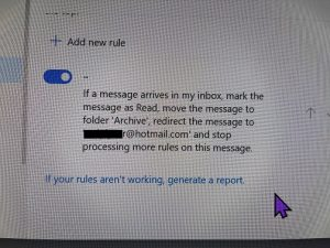 Hacked email - account rules changed and archive message
