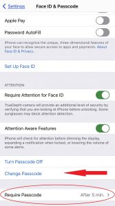 first of two images which show how to change password on iphone