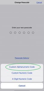 Second of two images which show how to change password on iphone